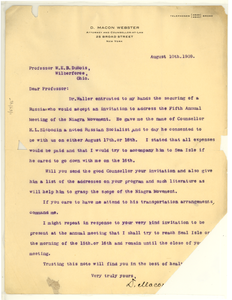 Letter from D. Macon Webster to W. E. B. Du Bois