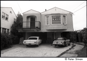House, probably in Berkeley, with Black Panther sign in the window: 'Defend the Black Community--New for Congress, Seal for state assembly
