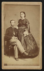 [Unidentified soldier in Union infantry uniform and wife]
