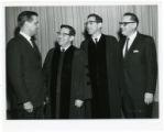 Senator Walter Mondale, Rabbi Robert Shapiro, Rabbi Max Shapiro and Mayor Naftalin, Minneapolis, Minnesota
