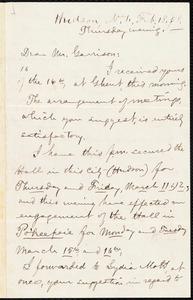 Letter from Aaron Macy Powell, Hudson, N.Y., to William Lloyd Garrison, Feb[ruary] 18. [18]58