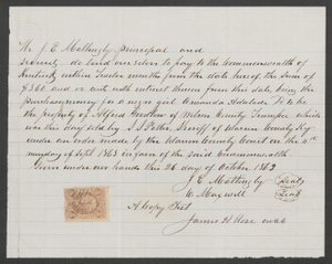 Documents relating to the sale of a runaway slave: Amanda Adalade, belonging to Alfred Goodlon of Wilson County, Warren County