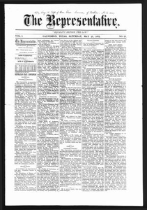 The Representative. (Galveston, Tex.), Vol. 1, No. 25, Ed. 1 Saturday, May 25, 1872 The Representative