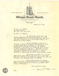 Letter from Jesse Binga to W. E. B. Du Bois