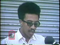 WSB-TV newsfilm clip of H. Rap Brown predicting the onset of race war and announcing that Stokley Carmichael has been killed in Alabama, 1967 June 12