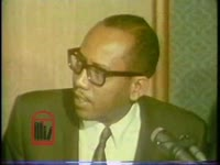 WSB-TV newsfilm clip of a panel of African American leaders including Georgia state senator Leroy Johnson, Reverend J. D. Grier and attorneys Horace T. Ward and William H. Alexander explaining recent demands to the Board of Education, Atlanta, Georgia, 1967 September 25