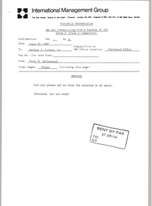 Fax from Mark H. McCormack to Arthur J. Lafave, Jr