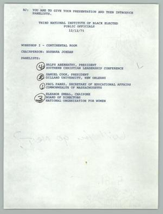 [Panelists and Speech for Third National Institiute of Black Elected Public Officials] Texas Senate Papers