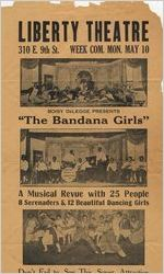 """Circular for the Liberty Theatre advertising the musical review """"The Bandana Girls,"""" possibly between 1912 and 1939"""