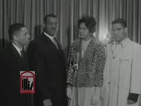 WSB-TV newsfilm clip of African American lawyers commenting on the University of Georgia's integration, students' replies to a reporter's questions, and African American students at the University of Georgia in Athens, Georgia, 1961 January 9