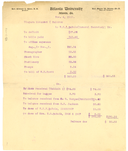 Financial Statement of Niagara Movement, November 1907 Copy 2