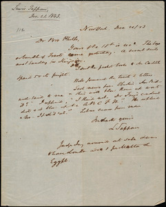 Letter from Lewis Tappan, New York, to Amos Augustus Phelps, 1843 December 21