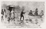 Thumbnail for The Road to Liberty. A station on the Underground Railroad. (Escaped adults and children being convened from boat to waiting coach.)