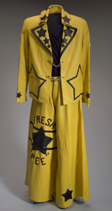 Yellow and black leather costume worn by Bootsy Collins