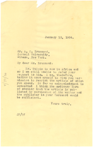 Letter from Jessie Fauset to A. M. Drummond