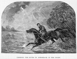 Crossing the river on horseback in the night