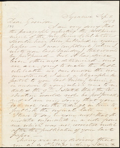 Letter from Samuel Joseph May, Syracuse, [N.Y.], to William Lloyd Garrison, Sep[tember] 11. 1853