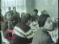 WSB-TV newsfilm clip of civil rights workers protesting segregation during a sit-in at two Toddle House restaurants in Atlanta, Georgia, 1963 December