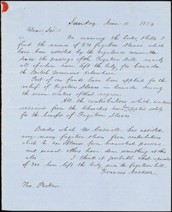 Thumbnail for Letter from Francis Jackson to Theodore Parker, 1854 June 11