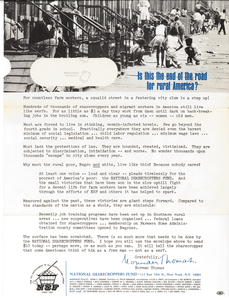 Flier from the National Sharecroppers Fund