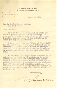 Letter from Upton Sinclair to W. E. B. Du Bois