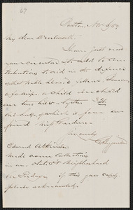 George Higginson autograph note signed to Thomas Wentworth Higginson, Boston, 6 November [18]59