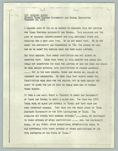 Rep. Barbara Jordan - Remarks Texas Southern University Law School Dedication Texas Senate Papers