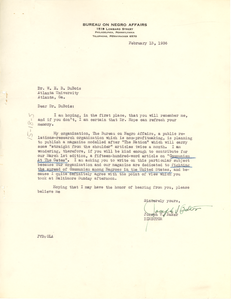 Letter from the Bureau on Negro Affairs to W. E. B. Du Bois
