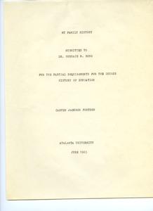 Student family histories: Fortson, Carver (Jackson, Hudson, Stein)
