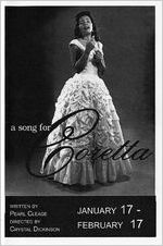 """Pearl Cleage's """"A Song for Coretta,"""" theater program for the performances at 7 Stages Theatre, Atlanta, Georgia, January 17 - February 24, 2008. (8 pages)"""