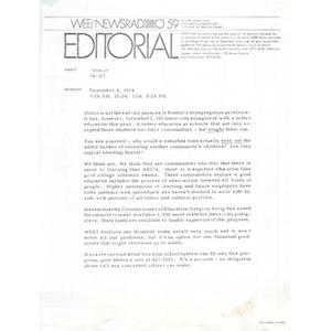 """WEEI editorial: """"METCO."""""""