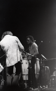 Miles Davis in performance: Dave Liebman (back to camera) and Miles Davis