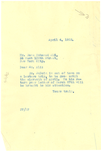 Letter from Jessie Fauset to Duse Mohamed Ali