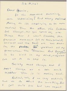 Letter from Wilbur Colom to Gloria Xifaras Clark