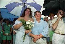 Partners Sandra Riley and Cheryl Summerville at a gay-lesbian commitment ceremony, Piedmont Park, Atlanta, Georgia, June 22, 1991