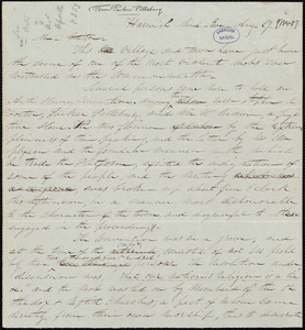 Letter from Parker Pillsbury, Harwich, [Mass.], to William Lloyd Garrison, Aug[ust] 27 [1848]
