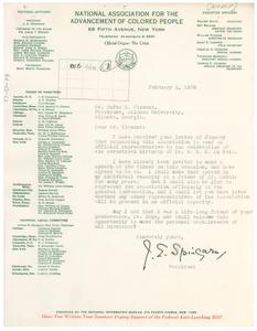Letter from the National Association for the Advancement of Colored People to Rufus E. Clement