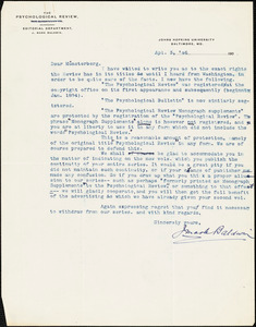 Baldwin, James Mark, 1861-1934 typed letter signed to Hugo Münsterberg, Baltimore, 03 April 1906