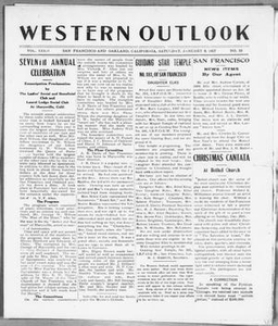 Western Outlook (San Francisco and Oakland, Calif.), Vol. 33, No. 15, Ed. 1 Saturday, January 8, 1927 The Western Outlook