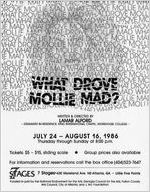 "Flyer and press releases for Lamar Alford's ""What Drove Mollie Mad"" at 7 Stages Theatre, Atlanta, Georgia, July 24 - August 16, 1986"