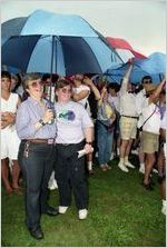 Partners Skip Marklein and Derlene Warren participating in a gay-lesbian commitment ceremony, Piedmont Park, Atlanta, Georgia, June 22, 1991