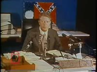 WSB-TV newsfilm clip of governor Jimmy Carter commenting on recent racial unrest in Columbus, Georgia, 1971 June 24