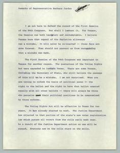 Remarks of Representative Barbara Jordan Texas Senate Papers