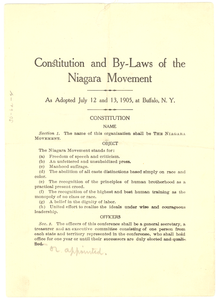 Thumbnail for Constitution and by-laws of the Niagara Movement: as adopted July 12 and 13, 1905, at Buffalo, N.Y