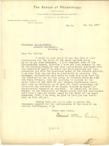 Letter from The School of Philanthropy to W. E. B. Du Bois