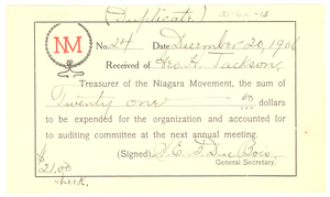 Niagara Movement Receipt No. 24
