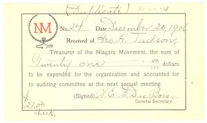 Niagara Movement Receipt No. 24