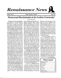 Renaissance News, Vol. 7 No. 7 (July 1993)
