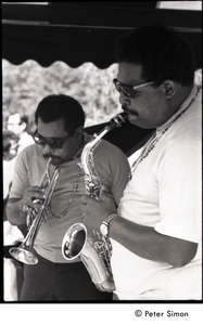 Cannonball Adderley (sax) and Nat Adderley (cornet), with the Cannonball Adderley Sextet, performing at Jackie Robinson's jazz concert