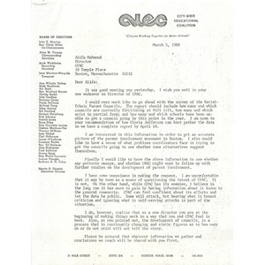 Letter, Citywide Educational Coalition, March 5, 1980